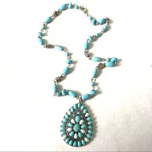 Southwest Faux Turquoise Petit Point Necklace